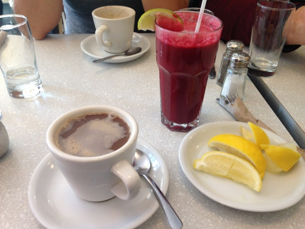 Coffee and fresh juice is the best way to wake up