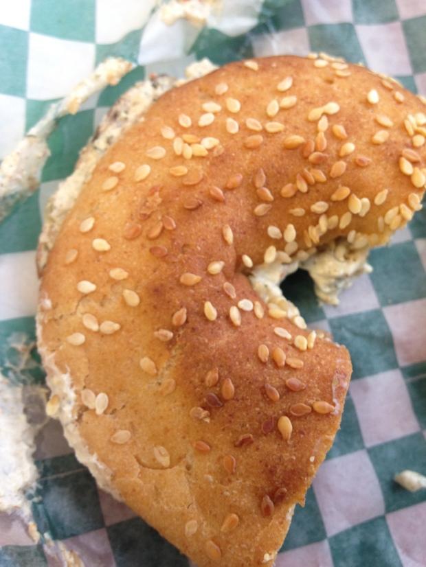 Gluten-free bagel with vegan cream cheese