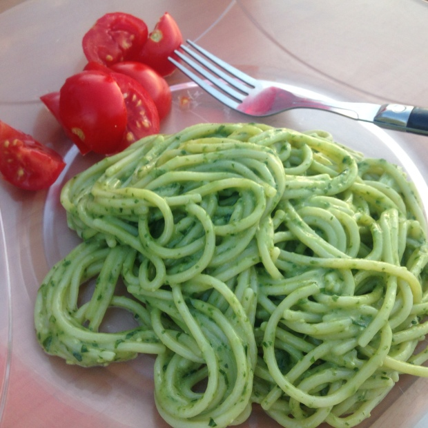 Delicious pesto pasta made by my GFBFF Andrea