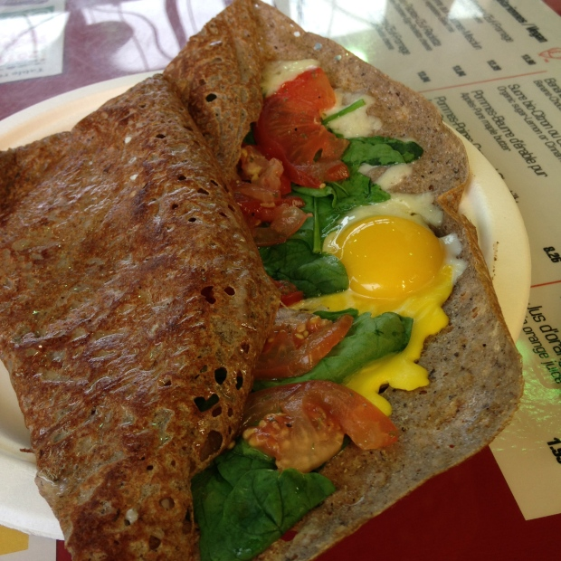 Galettes de Sarrasin- Savoury Buckwheat with tomato, spinach, cheese and eggs