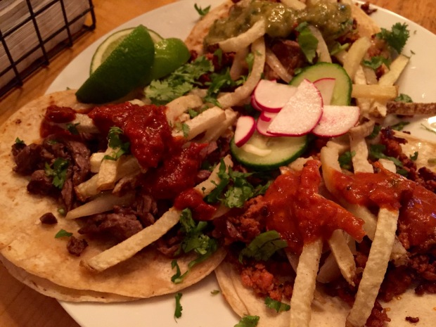 Bavette, Campechano and Chorizo Tacos
